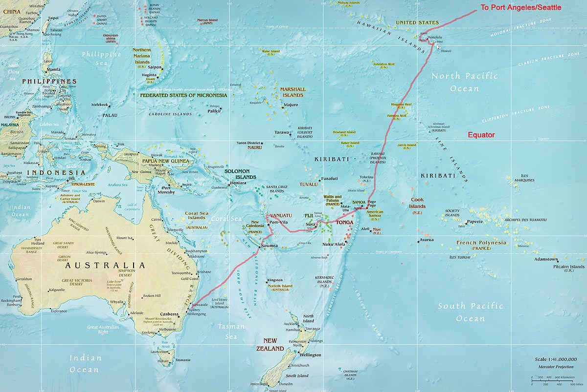 Sydney to Port Angeles via the South Pacific